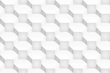 Volume realistic vector hexagon texture, light geometric seamless pattern, design white background for you projects