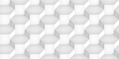 Volume realistic vector cubes texture, light geometric seamless pattern, design white illusion background for you projects