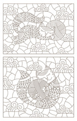 Set of contour illustrations of stained glass Windows with cute cartoon cats on a cloud background, dark contours on a white background
