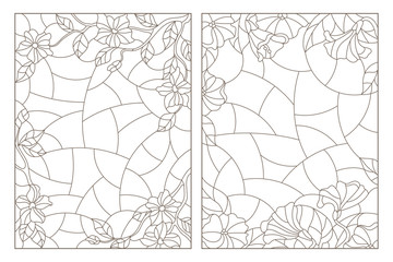 Set of contour illustrations of stained glass Windows with floral backgrounds, dark contours on a white background