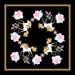 Square silk scarf with four funny unicorns and large pink rose flowers on black background in vector. Ornamental frame.