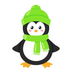 Little cartoon penguin in a green hat and scarf isolated on a white