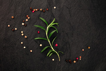 A photo of an elegant rosemary branch with peppercorns, shot from the top on a black background with a place for text