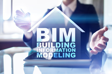 BIM - Building information modeling is a process the generation and management of digital representations of physical and functional characteristics of places. Wall mural