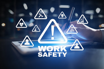 Work Safety Concept on the virual screen.