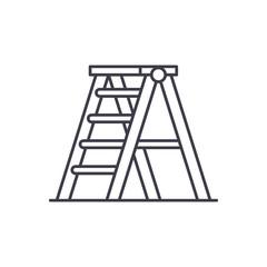 Folding ladder line icon concept. Folding ladder vector linear illustration, sign, symbol