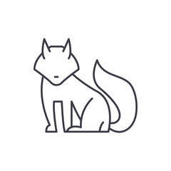 Fox line icon concept. Fox vector linear illustration, sign, symbol