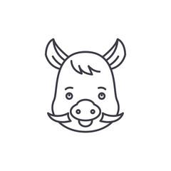 Funny boar line icon concept. Funny boar vector linear illustration, sign, symbol