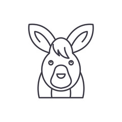 Funny hare line icon concept. Funny hare vector linear illustration, sign, symbol