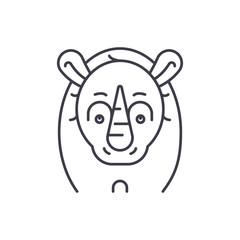 Funny rhino line icon concept. Funny rhino vector linear illustration, sign, symbol