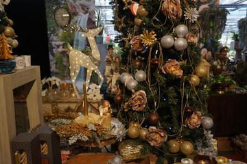christmas tree decorations at street market