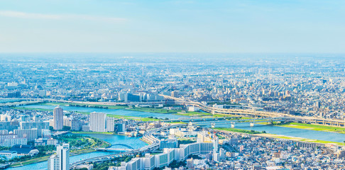 Wall Mural - city urban skyline aerial view in koto district, japan