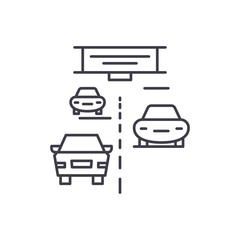 Highway line icon concept. Highway vector linear illustration, sign, symbol