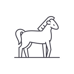 Horse line icon concept. Horse vector linear illustration, sign, symbol