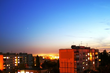 The evening sunset over the city