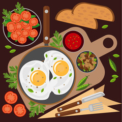 Fried eggs in a frying pan, tomato salad, mushrooms and vegetables. Vector illustration on the theme of food, healthy breakfast.