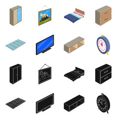 Vector design of bedroom and room sign. Set of bedroom and furniture vector icon for stock.