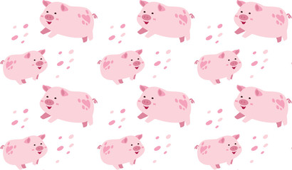 cute pink pig seamless pattern illustrator vector background