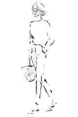 Stylish young woman in sunglasses. Fashion hand-drawn illustration. Vector