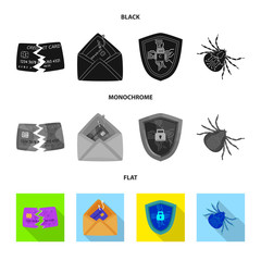 Vector illustration of virus and secure logo. Set of virus and cyber stock vector illustration.