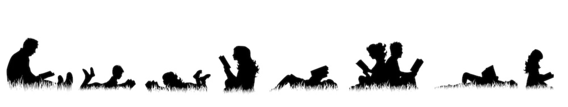 Vector silhouette of people who read on meadow.