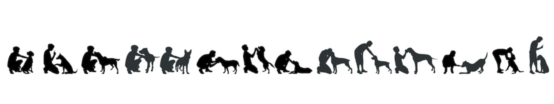 Vector silhouette of man with dog white background.