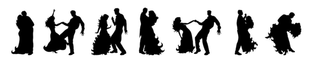 Vector silhouette of set of couple who dance.