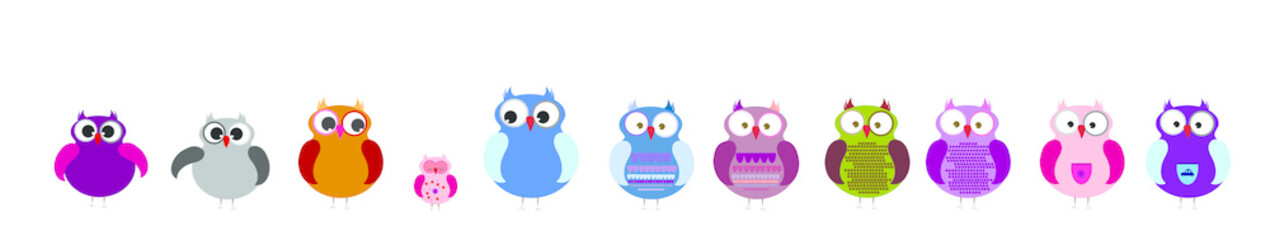 Vector illustration of set of owl.