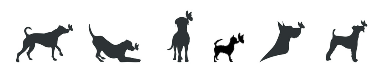Vector silhouette of dog set with butterfly on white background.