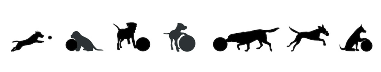 Vector silhouette of dog set with ball on white background.