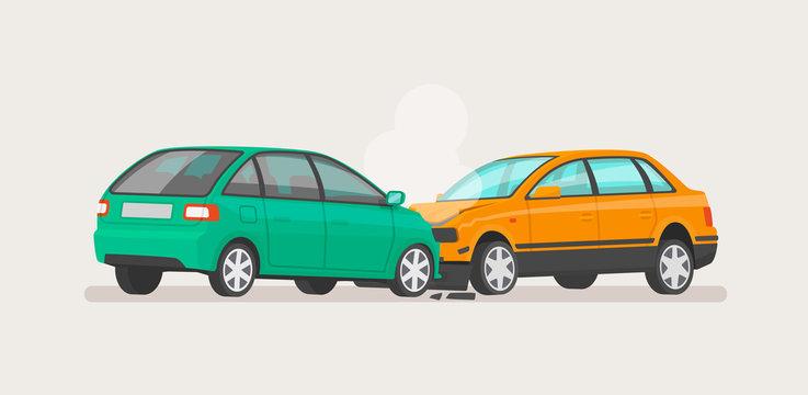 Car accident. Two broken cars. Vector illustration