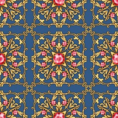 Seamless luxury pattern with gems and golden scrolls