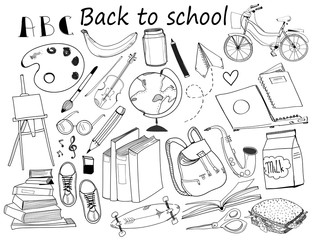 Back to school. Graphic vector set. All elements are isolated