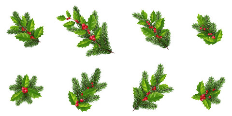 Merry Christmas design elements set. Xmas decorations .fir-tree branch,Holly leaves and branches with red berries design elements.Isolated on white background without shadow.