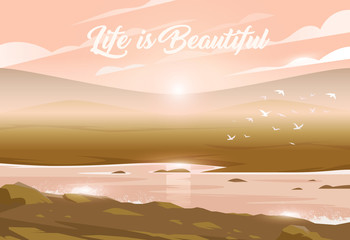 Unbelievable landscape. Vector illustration. Exciting view. Life is Beautiful. 4