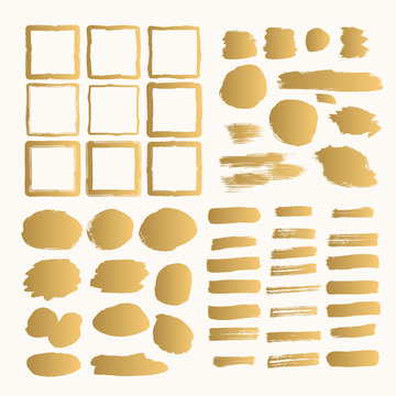 Set of hand drawn golden frames, box, banners. Gold backgrounds and borders.