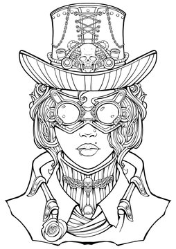Girl in a steampunk style suit