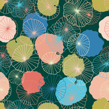 Waterlilies or lotus flowers and leaves in a pond seamless pattern background texture in a modern colorful style. Vector.