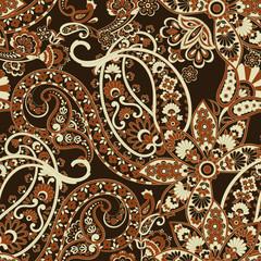 Paisley vector seamless pattern. Fantastic flower, leaves. Textile bohemian print.