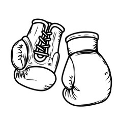 Illustration of boxing gloves. Design elements for logo, label, sign, menu.
