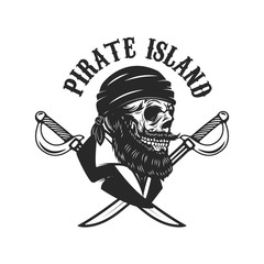 Pirate skull with crossed sabers. Design elements for logo, label, sign, menu.
