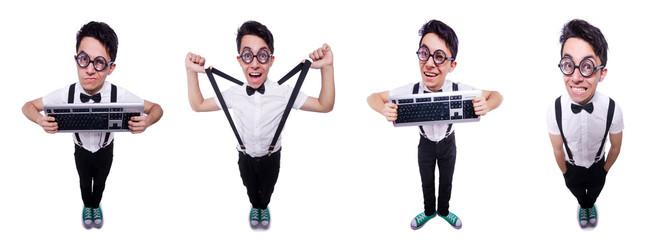 Nerd hacker with computer keyboard on white