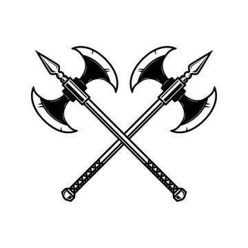 Crossed medieval axe. Design element for label, badge, sign.