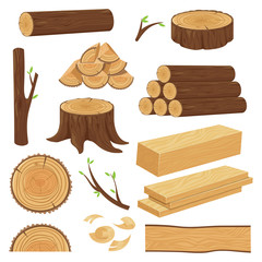 Wood trunks. Stacked lumber material, trunk twig and firewood logging twigs. Tree stump, old wooden plank isolated cartoon vector set