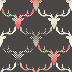 Polygonal vector Deer head. Seamless background. Graphic element for design. Can be used for wallpaper, textile, invitation card, wrapping, web page background.