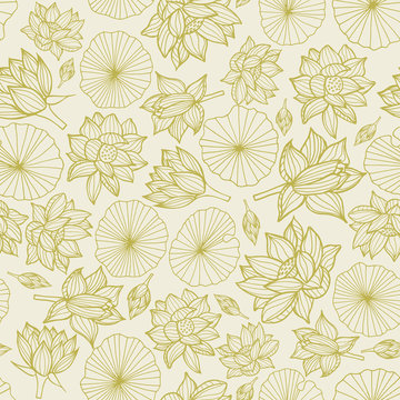 Waterlilies or lotus flowers and leaves seamless pattern background texture in a monochrome lineart style. Vector.
