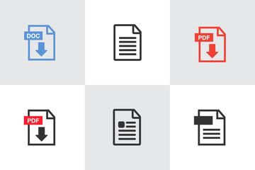 PDF File download icon. Document text, symbol web format information. Pdf icon