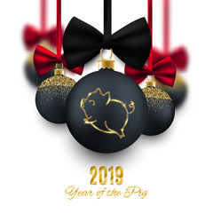 Happy New Year of the pig 2019 vector postcard, decorative baubles with cute symbol animal, vector illustration