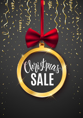 Christmas sale festive advertisement banner, discount, shop, gold bauble with bow, vector illustration