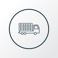 Truck icon line symbol. Premium quality isolated van element in trendy style.